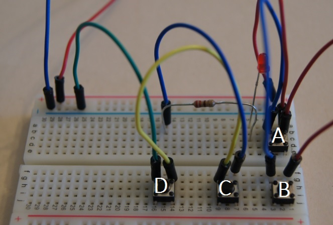 A breadboard with a boolean OR and a boolean AND circuit